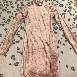 NWOT Pink Velvet Long Sleeve Dress Naked Wardobe